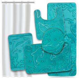 Effiliv Bathroom Rugs Set 5 Pc Memory Foam Mats Eva Shower Liner Extra Aqua Teal Ebay