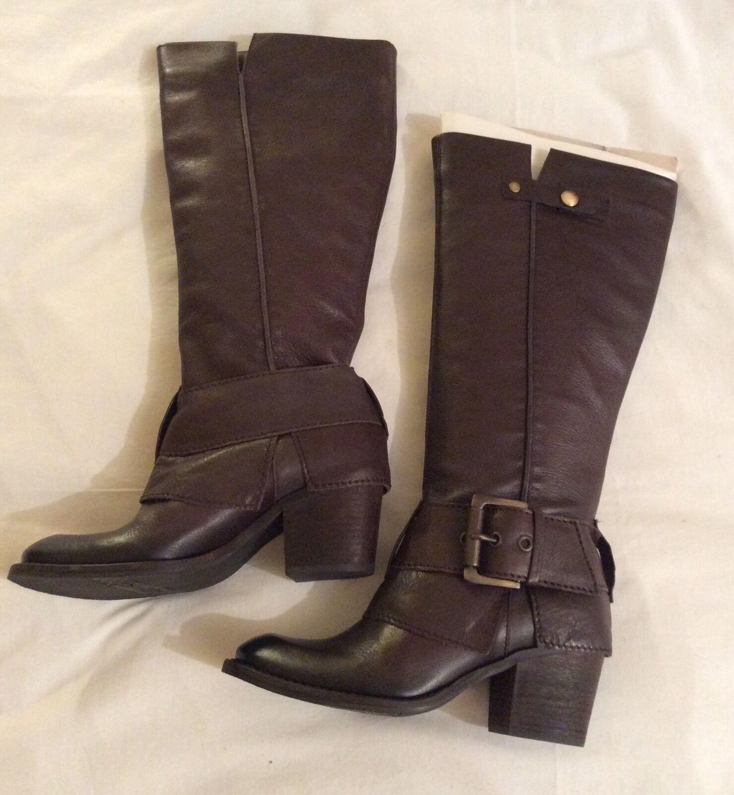 LADIES KENNETH COLE REACTION BROWN LEATHER BIKER STYLE BOOTS SIZE 3 UK NEU