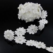 3D Flower Pearl Lace Edge Wedding Bridal Applique Motif Trim DIY Sewing Craft MP
