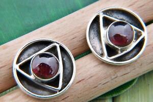 Ohrstecker-Ohrringe-Silber-925-Sterlingsilber-Granat-rot-Stein