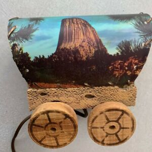Vtg Covered Wagon Table Lamp Western Decor Half Dome Mount Rushmore Night Light