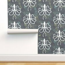Removable Water-Activated Wallpaper Squid Jellyfish Sea Nautical Creature