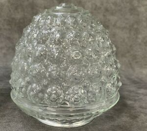 """ACORN Clear Glass Light Shade 3 1/4"""" Fitter PORCH Globe 6"""" Tall Vintage"""