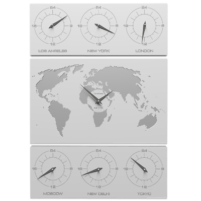Cartina Fusi Orari Mondo.V Cosmo Orologio Da Parete Design Planisfero Cartina Mondo Fusi Orari Legno Bian Ebay