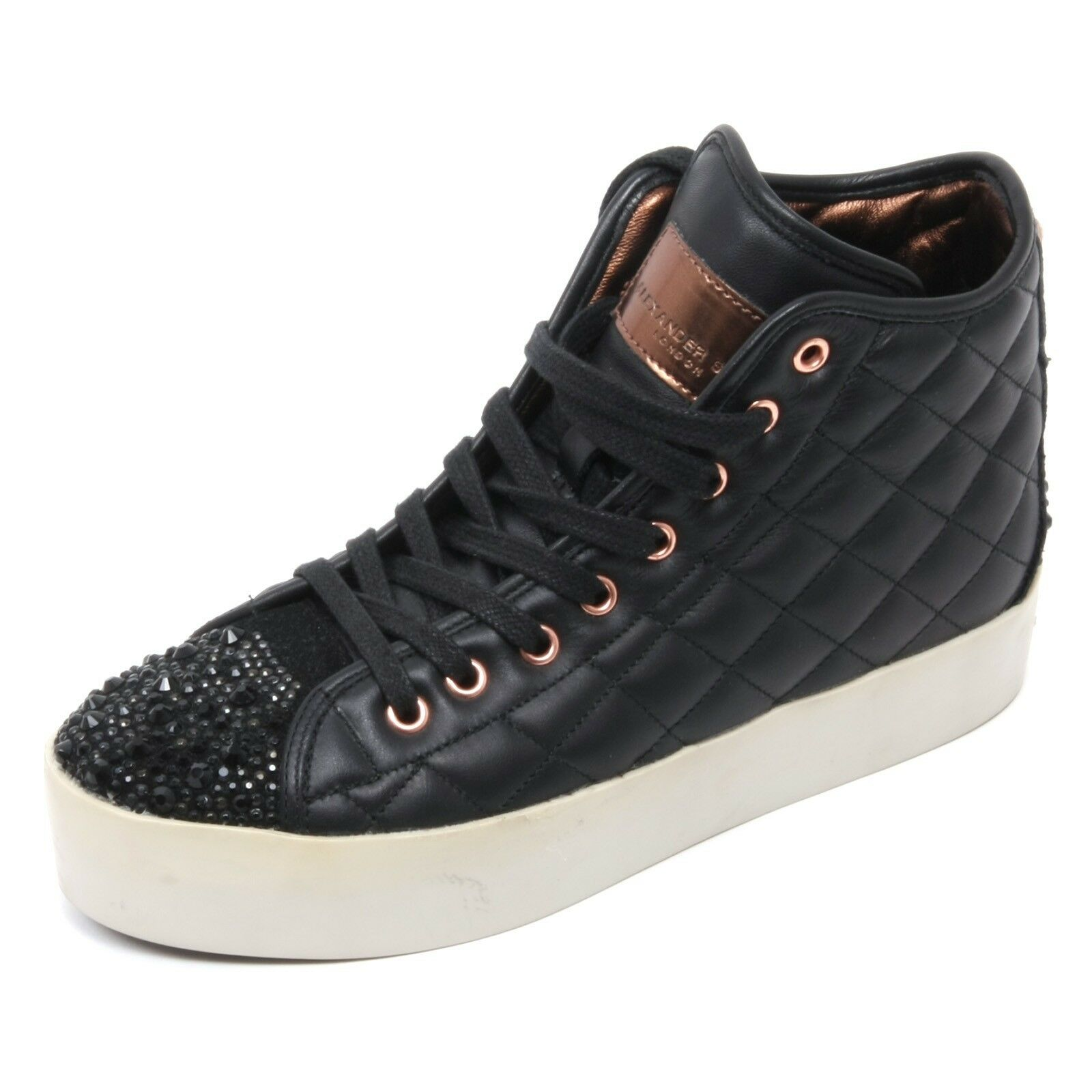 B6686 sneaker alta donna ALEXANDER SMITH LONDON scarpa nero shoe woman