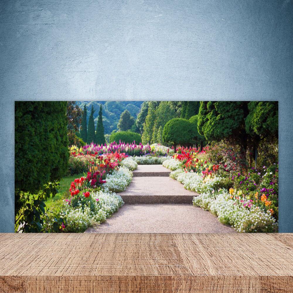 Crédence de cuisine en verre Panneau Paroi 100x50 Nature Escaliers Jardin