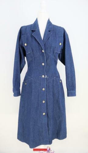 Vintage 90s CHANEL Denim Jacket Long Coat Sz S