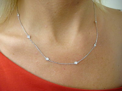 "18K WHITE GOLD 1.40 CT ""DIAMONDS BY THE YARD"" 10 STATIONS NECKLACE, COMFORT FIT"
