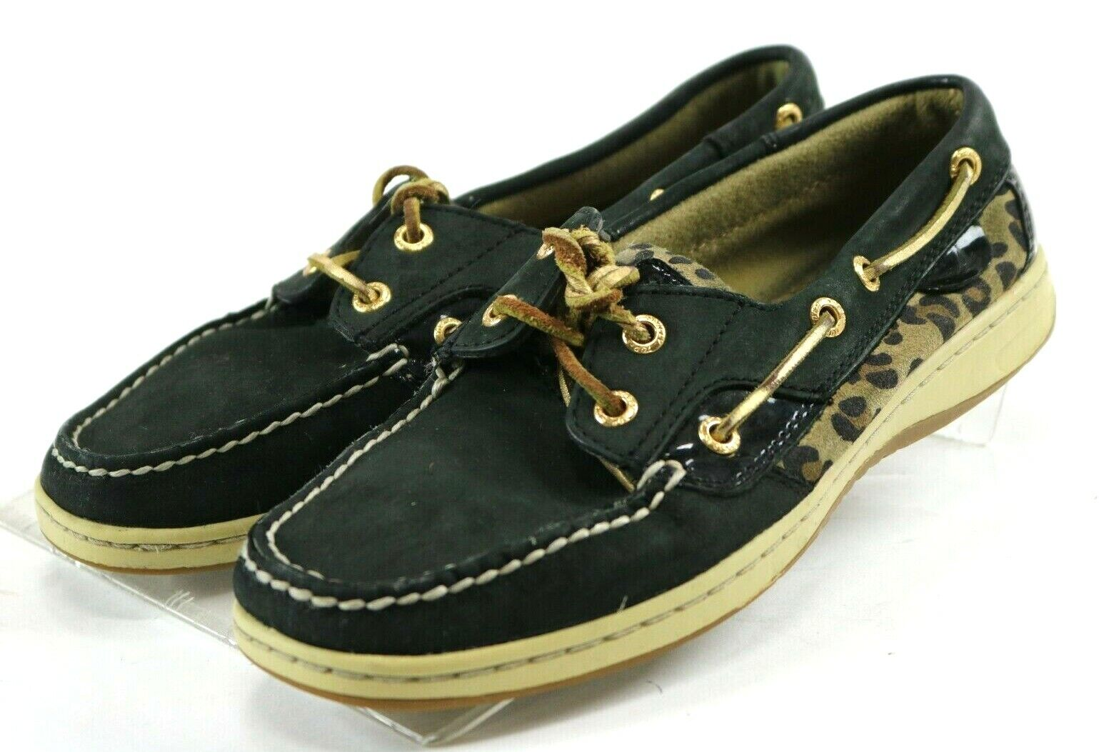 Sperry Top Sider Bluefish Women's Boat Shoes Size 7 Leopard Print Black
