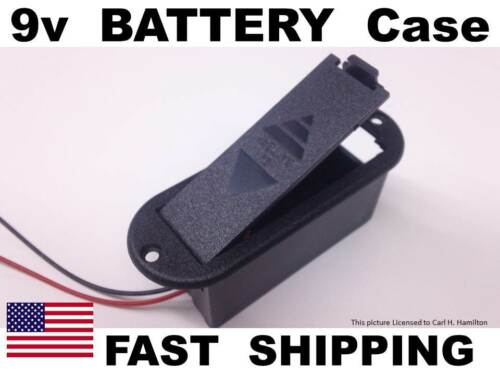 BLACK plastic 9v battery holder with leads 9 volts universal replacement