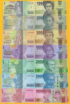 INDONESIA 2016-2019 New UNC Complete Set 1000 2000 5000 10000 20000 50000 100000