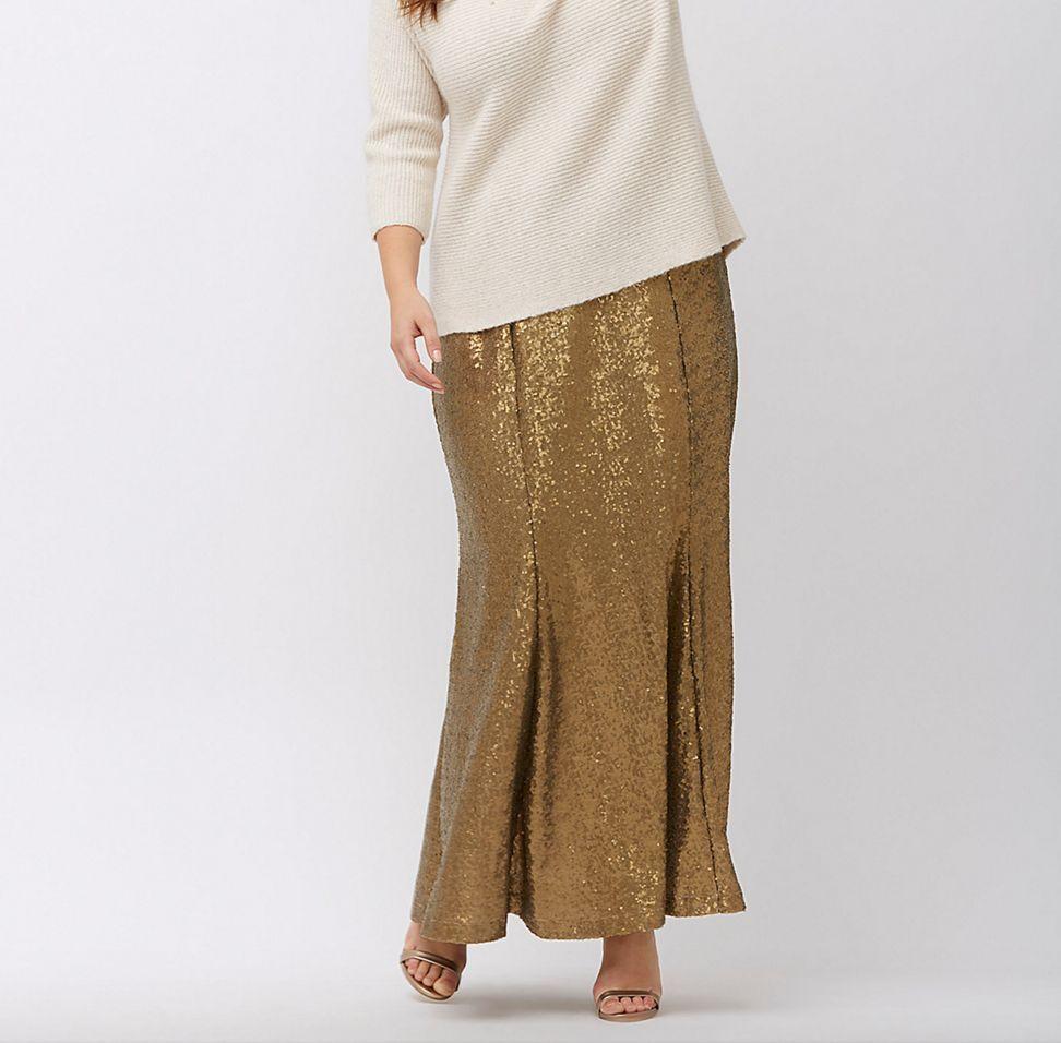 LANE BRYANT Sequin Maxi Skirt 16 18 20 22 24 26 28 Metallic gold Long Trumpet