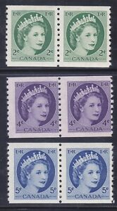 Canada-345-48-MNH-OG-1954-QEII-Perf-9-Vert-Coil-Pairs-Set-Very-Fine