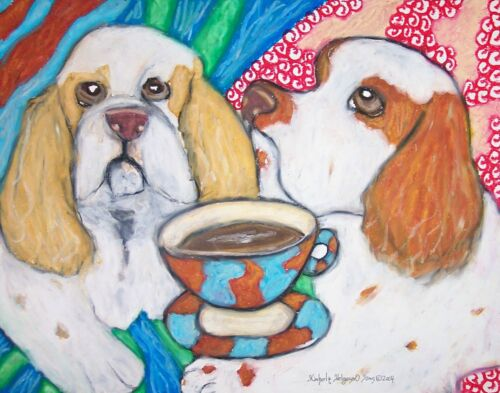 CLUMBER SPANIEL Drinking Coffee Collectible Dog Art 8 x 10 Print Signed by KSAMS