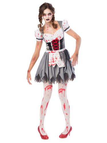 Ladies Oktoberfest Zombie Adults Halloween Fancy Dress Bavarian Maid Beer 8-18