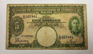 Malaya 1941 King G. VI $5 note.