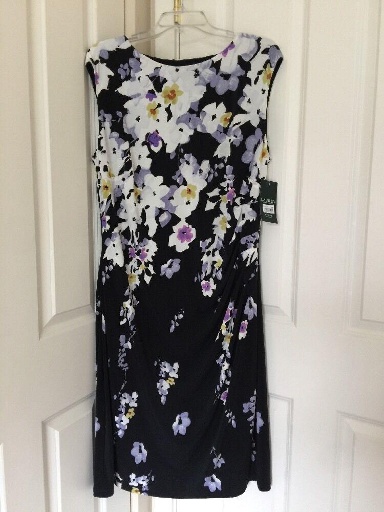 damen LAUREN RALPH LAUREN Cap Sleeve Floral Print Jersey Dress Sz 14W