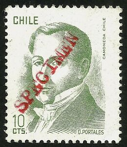 CHILE, SPECIMEN, DIEGO PORTALES, 10 CTS., MINT LIGHT HINGED