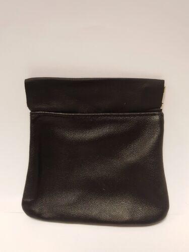 Calidad Superior Broche de presión cierra Negro Cuero Monedero Billetera Damas Caballeros Regalo Squeeze