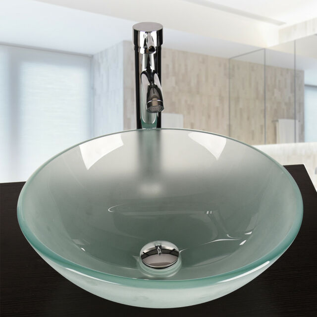 Bathroom Round Glass Vessel Sink Frosted Basin Stainless Drain