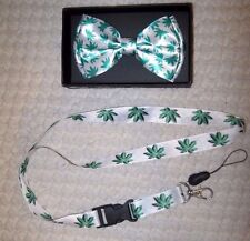 Green Marjuana MJ Weed Leaves Bow Tie & Lanyard ID Holder Combo-New in Package!