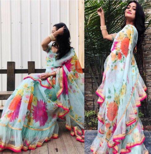 Saree Sky Georgette Beautiful Indian Floral Printed Frill Ruffle Ceremonial Sari