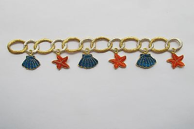 "#3768 9-1/8"" Gold Trim Fringe Scallop,starfish Embroidery Iron On Applique Patch"
