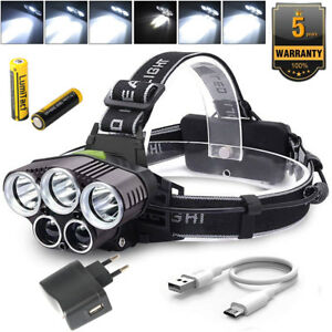 50000LM-LED-Headlamp-5-XM-L-T6-USB-Rechargeable-Light-Head-Torch-2x-Battery