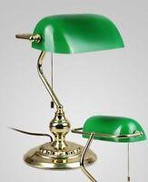 Lampe Schreibtischlampe Tischlampe Bankerlampe Messing Banker Leselampe grün