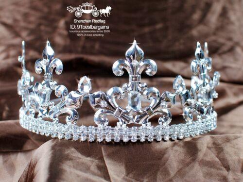 Men Tiara King Crown Imperial Medieval Fleur De Lis Rhinestone Crystal Headband