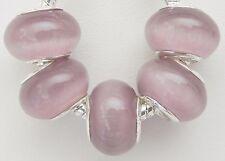 5 Light Purple Cat Eye Glass Beads Fit European Jewelry  9 * 14 & 5 mm Hole B051