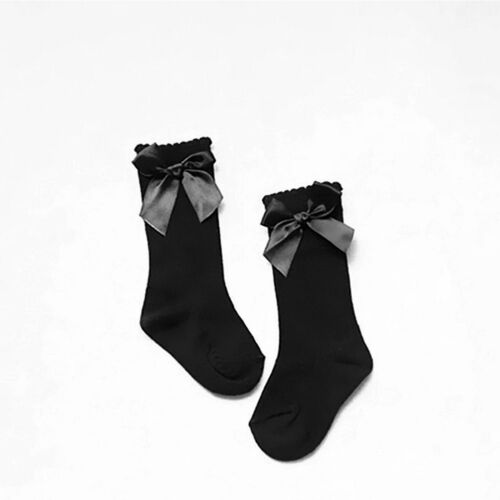 Toddler Baby Girl Boy 3//4 Knee High Socks Satin Bow Autumn Winter Tight 0-4 Year