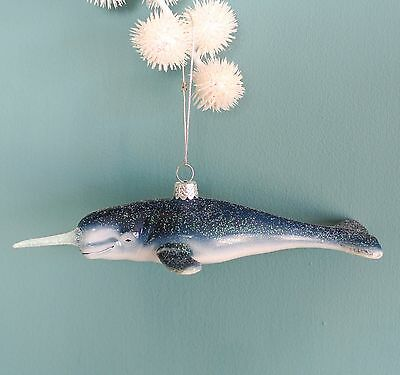 sass and belle christmas vintage style glass glitter narwhal whale decoration