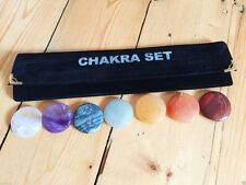 7 CHAKRA DISC CRYSTAL PALMSTONE SET POUCH GEMSTONE REIKI NEW AGE HEALING
