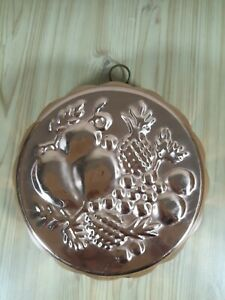 Fruit-Design-Copper-Blancmange-Jelly-Mould-Mold-Dish-Decorative-Wall-Hanging