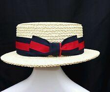 SCALA PANAMA Mens LG Hat Straw Skimmer Boater Teflon Coated Natural USA Made