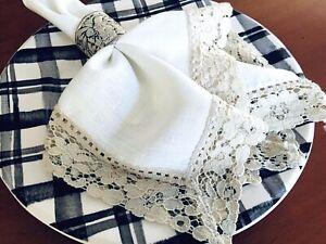 Set-of-6-Vintage-Napkins-Cotton-Linen-with-Tawny-Lace-Trim-17-034-x17-034