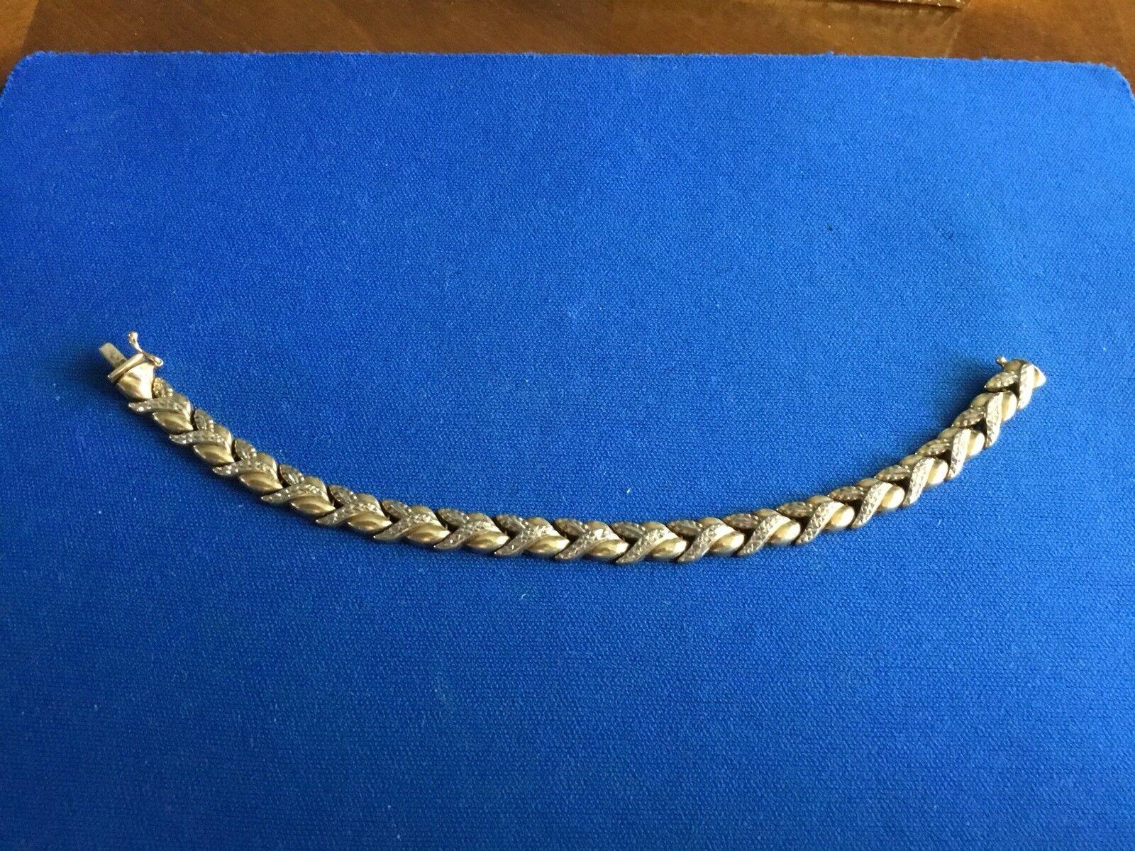 "10k Two Tone gold 7"" Textured Fancy Link Bracelet"