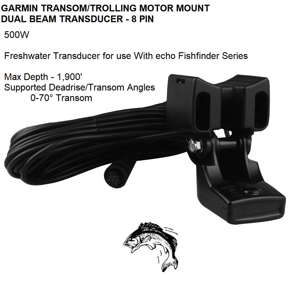 GARMIN TRANSOM TROLLING MOTOR MOUNT DUAL BEAM TRANSDUCER 8 PIN Max Depth 1,900FT