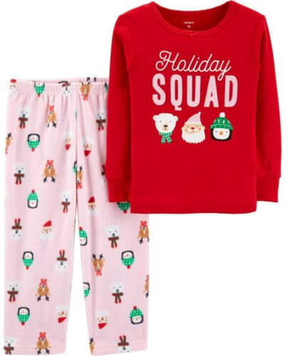 New Carter/'s Toddler Girls/' 2 Piece Christmas Holiday Squad Pajamas 3T 4T