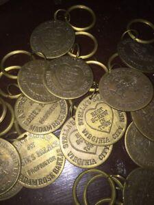 Mobs, Gangsters & Criminals Brothel Keychain Cathouse Brass Token Vintage Style Western Nr Random Grab Vg