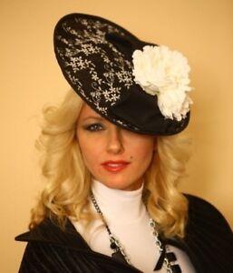 1c882e47804 Image is loading Fascinator-Hat-Black-amp-White-Handmade-in-NY-