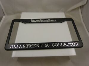 Department-56-collectible-License-plate-frame-unused-village-sceene-black-silver