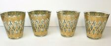 Vintage Culver Set of 4 Valencia 22K Gold & Green Diamond Lowball Glass Barware