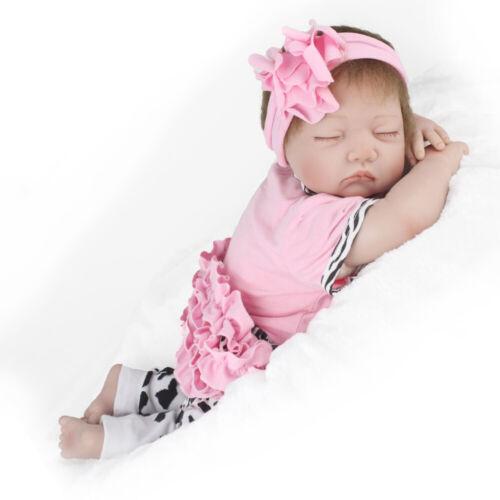 "22/"" Newborn Realistic Reborn Dolls Full Silicone Body Girl Handmade Gift Toy"