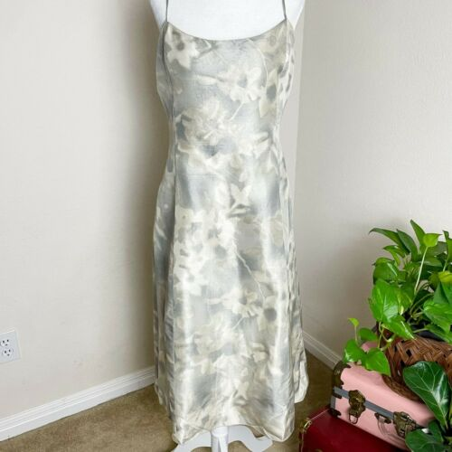 Armani Collezioni Floral Silk Slip Dress Gray Y2K… - image 1