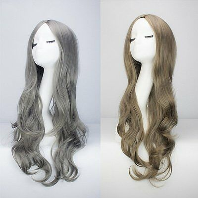 28'' Full Long Wig Gray Lolita Synthetic Hair Party Cosplay Fashion Anime Women