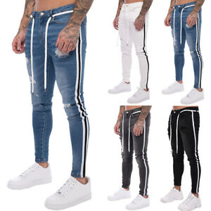 Mens-Ripped-Skinny-Biker-Jeans-Frayed-Destroyed-Trousers-Slim-Fit-Denim-Pants