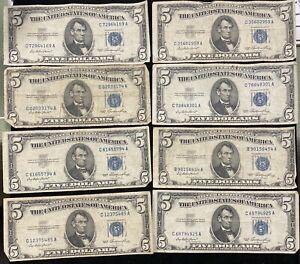 Lot of 5 $5 Blue Seal Dollar Silver Certificate Old Estate Money VG-AU 1953 1934