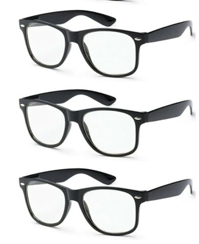 Lot Of 3 Pairs NERD GLASSES CLEAR LENS NOVELTY HIPSTER COSTUME
